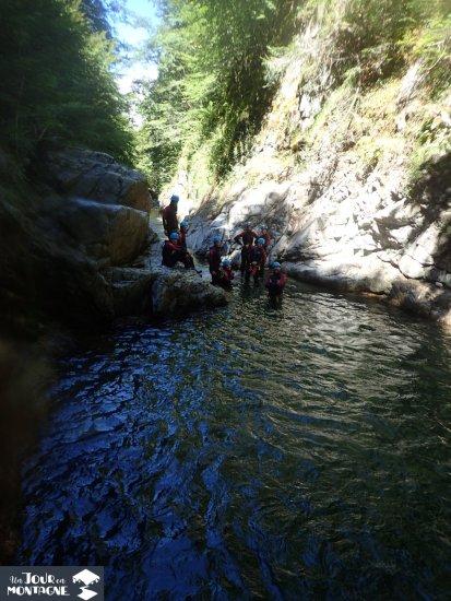 Groupe de canyoneur dans le canyon de Bious Artigues